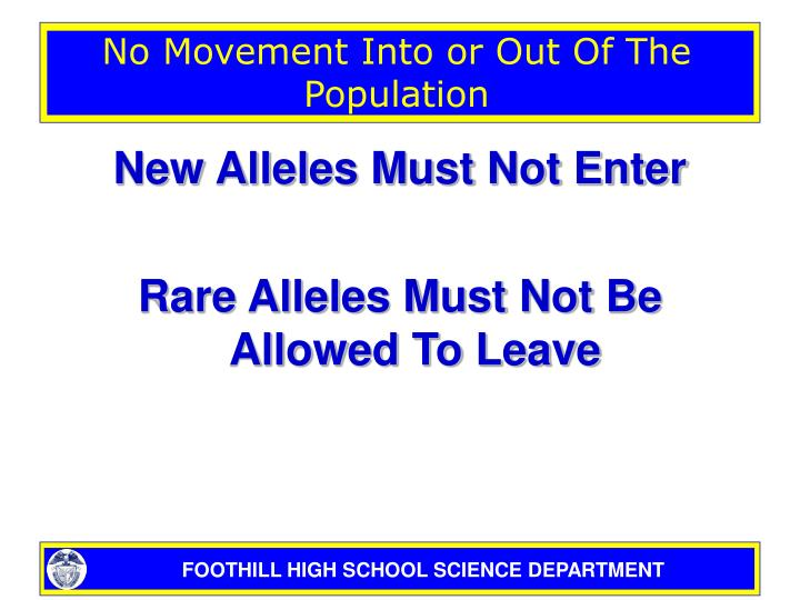 No Movement Into or Out Of The Population