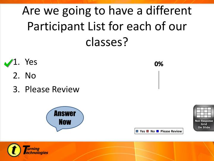 Are we going to have a different Participant List for each of our classes?