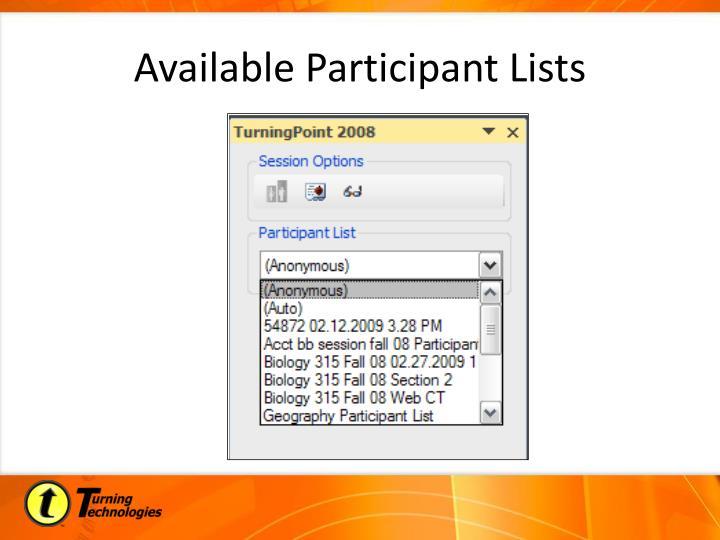 Available Participant Lists