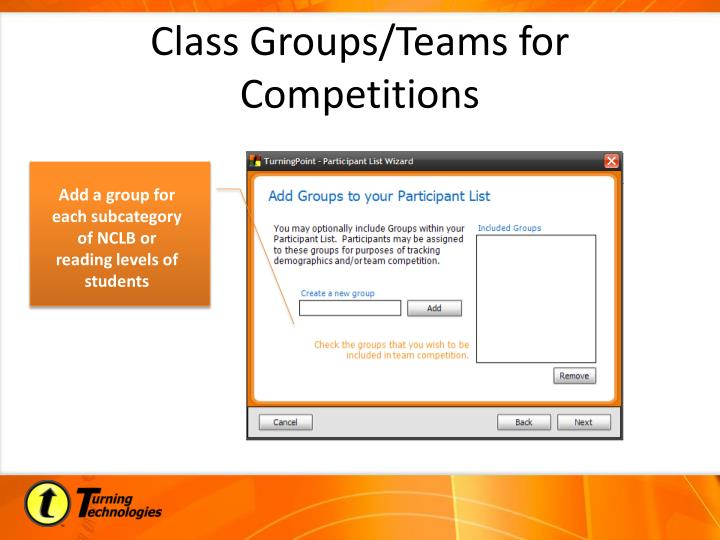 Class Groups/Teams for Competitions