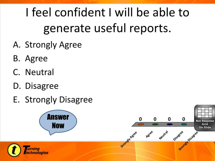 I feel confident I will be able to generate useful reports.