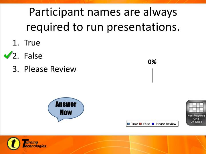 Participant names are always required to run presentations.
