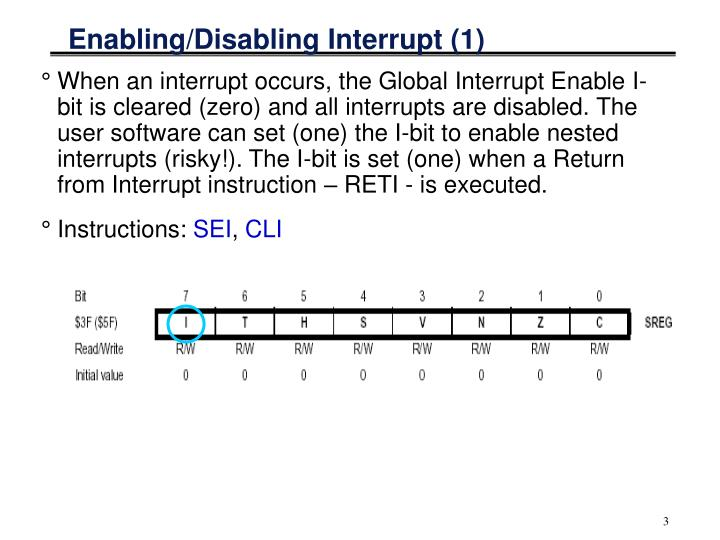 Enabling/Disabling Interrupt (1)