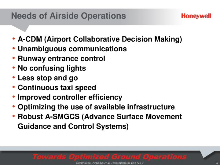 Needs of Airside Operations