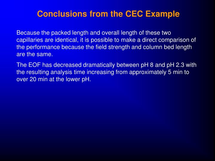Conclusions from the CEC Example