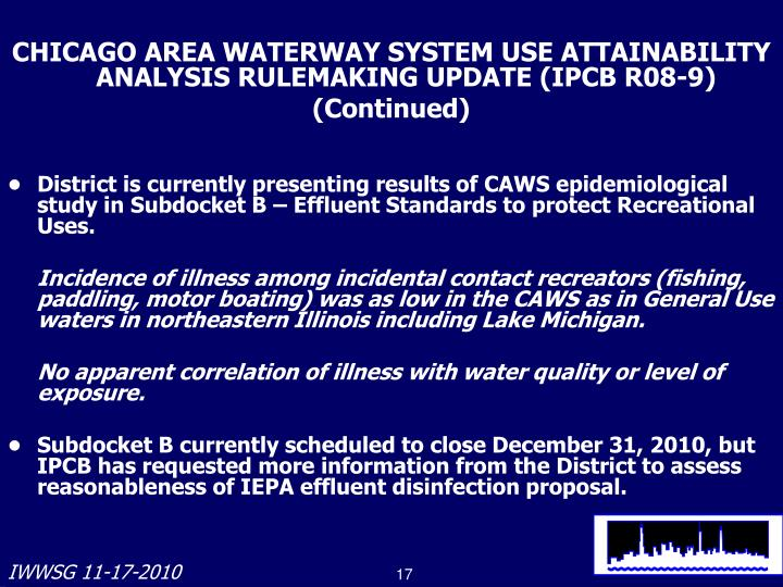 CHICAGO AREA WATERWAY SYSTEM USE ATTAINABILITY ANALYSIS RULEMAKING UPDATE (IPCB R08-9)