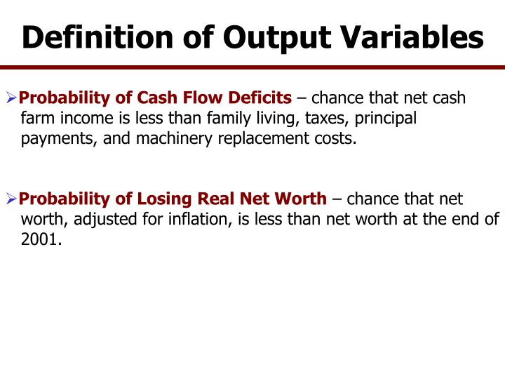 Definition of Output Variables