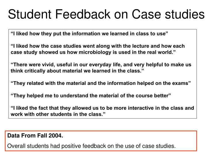 Student Feedback on Case studies