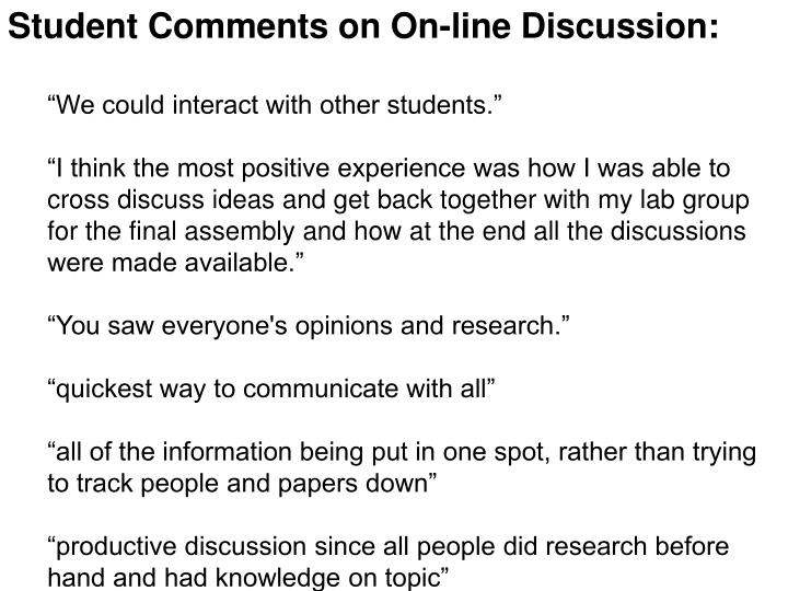 Student Comments on On-line Discussion: