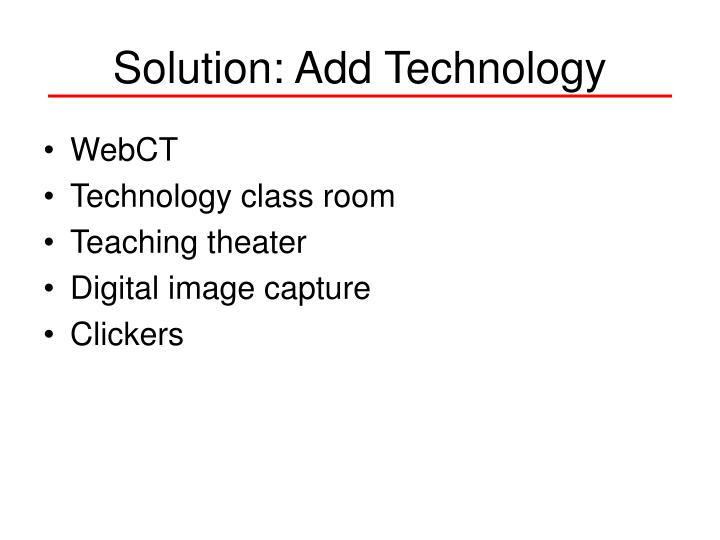 Solution: Add Technology