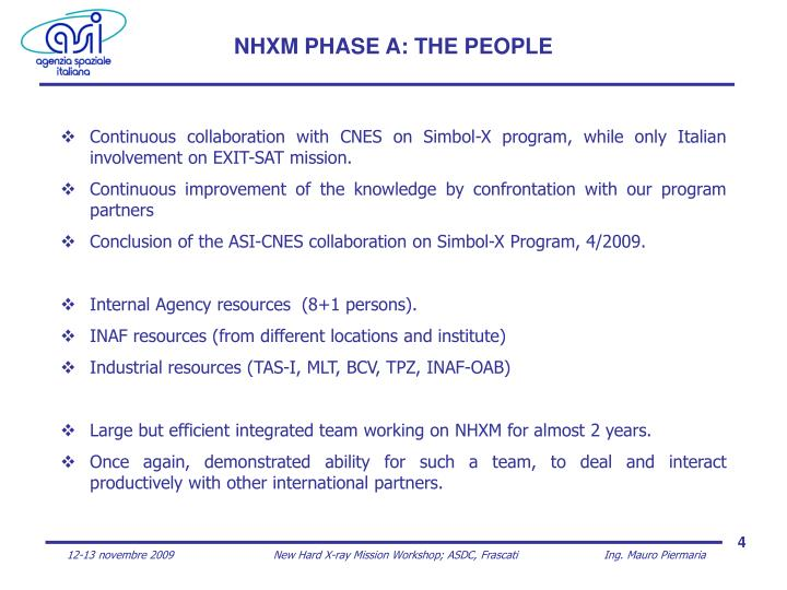 NHXM PHASE A: THE PEOPLE