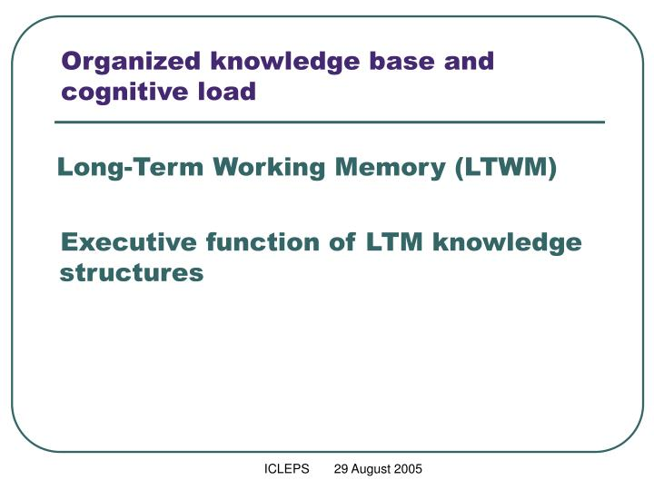Organized knowledge base and cognitive load