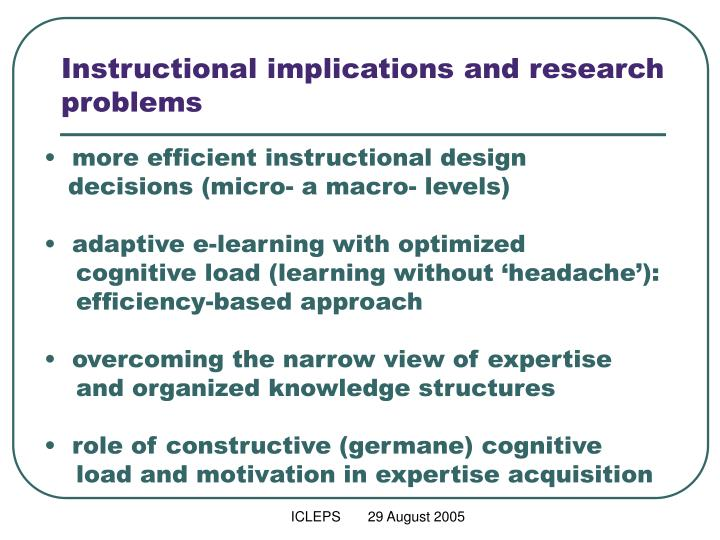 Instructional implications and research problems