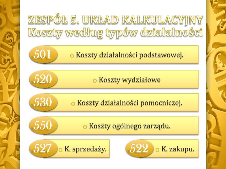 ZESPÓŁ 5. układ kalkulacyjny