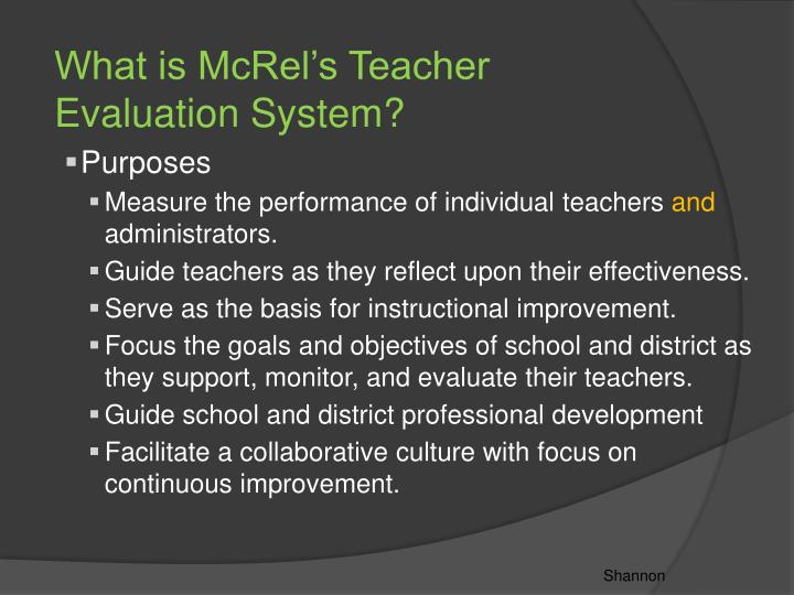 What is McRel's Teacher Evaluation System?