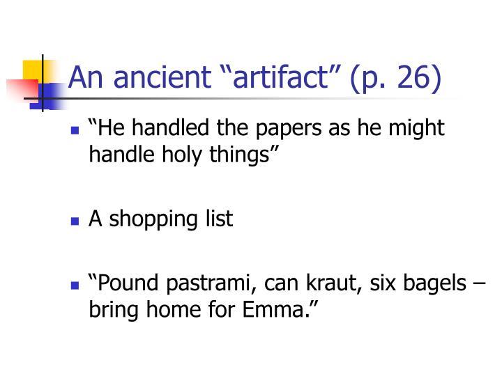 """An ancient """"artifact"""" (p. 26)"""