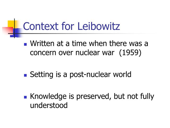 Context for Leibowitz