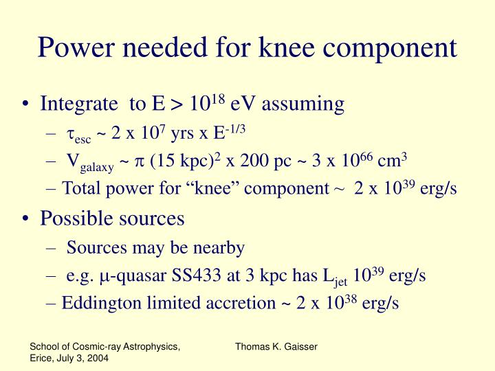 Power needed for knee component