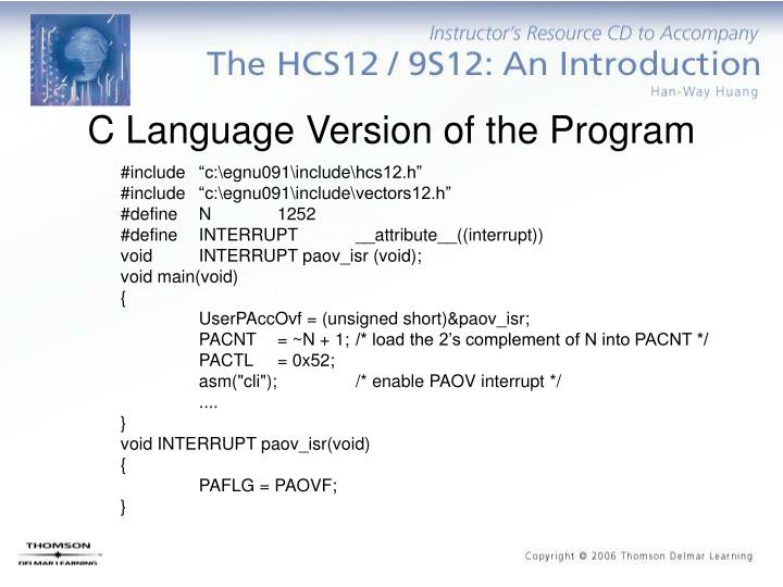 C Language Version of the Program