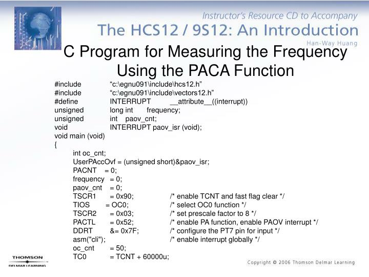 C Program for Measuring the Frequency Using the PACA Function