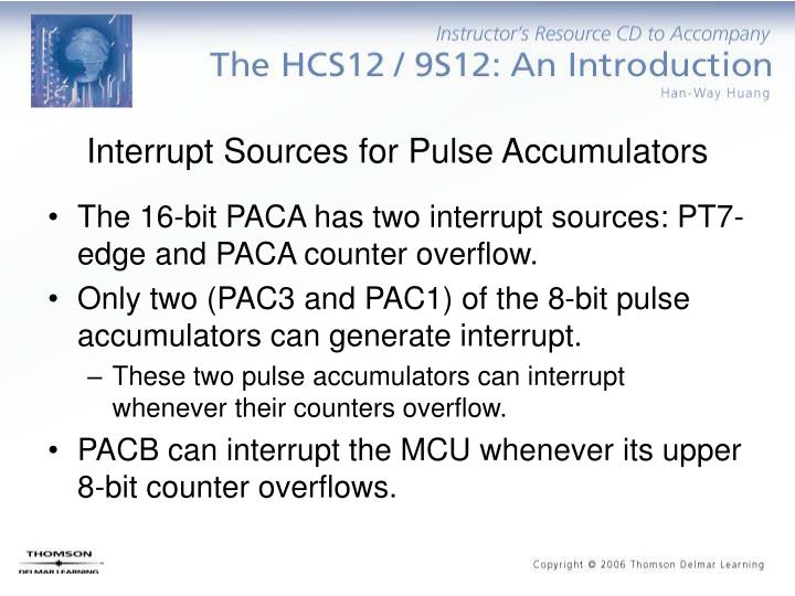 Interrupt Sources for Pulse Accumulators