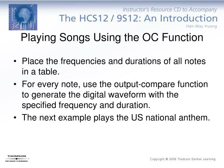 Playing Songs Using the OC Function