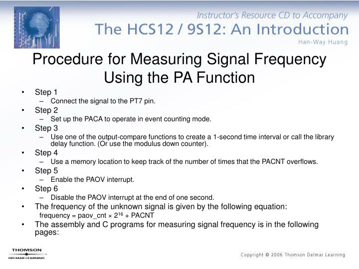 Procedure for Measuring Signal Frequency Using the PA Function