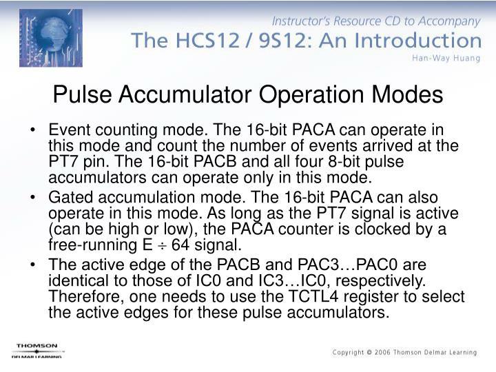 Pulse Accumulator Operation Modes