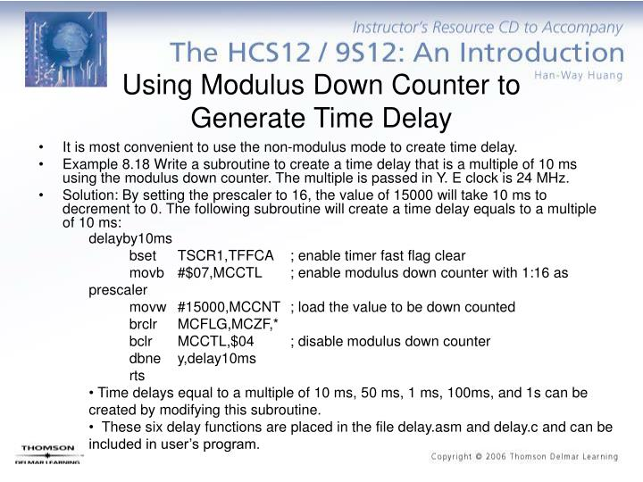 Using Modulus Down Counter to