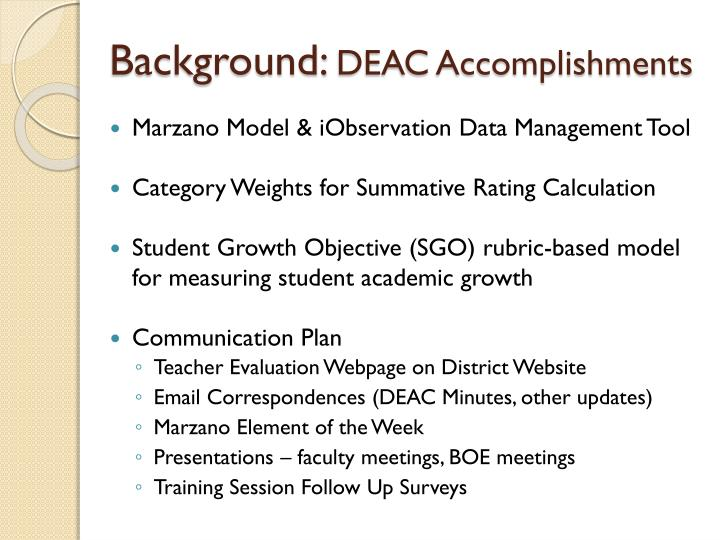 Background deac accomplishments