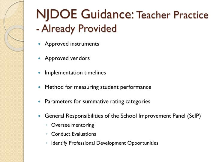 NJDOE Guidance: