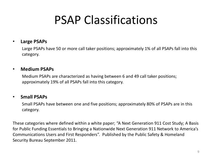 PSAP Classifications