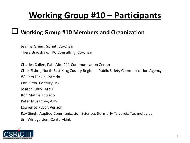 Working Group #10 – Participants