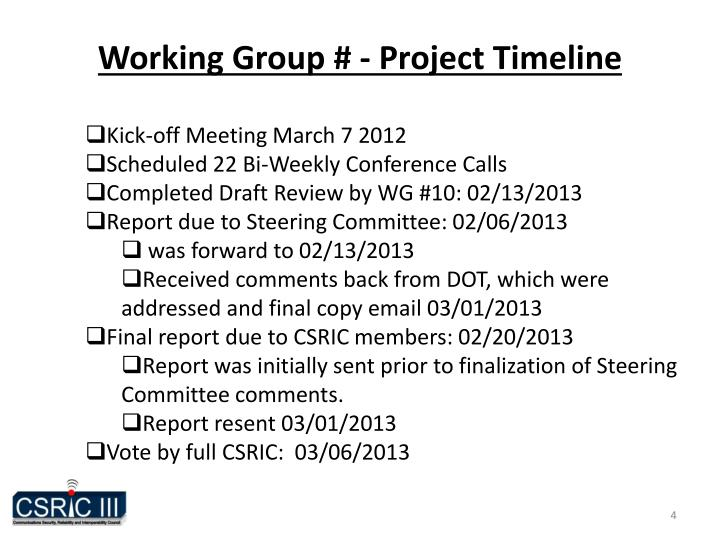 Working Group # - Project Timeline
