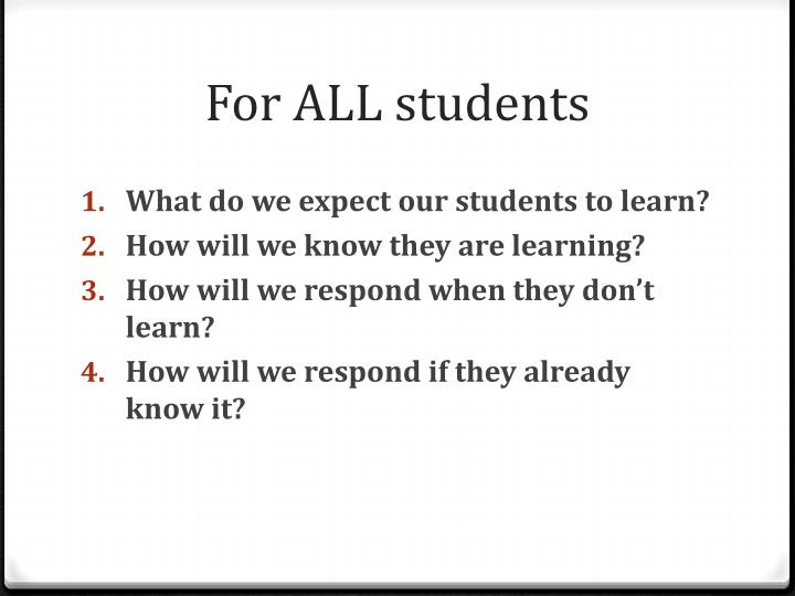 For ALL students