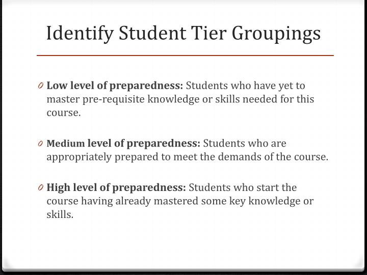 Identify Student Tier Groupings