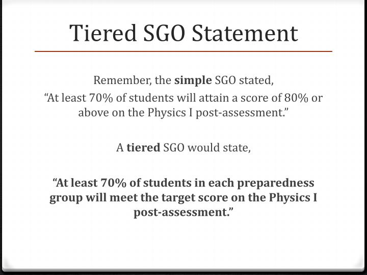 Tiered SGO Statement