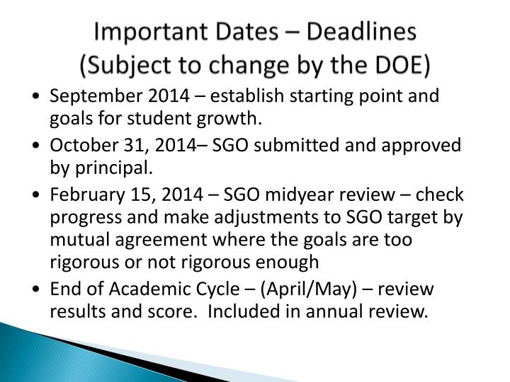 Important Dates – Deadlines