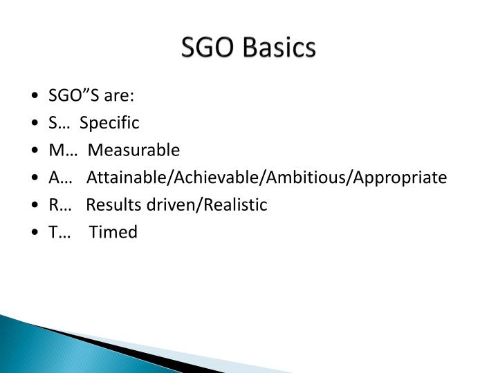 SGO Basics