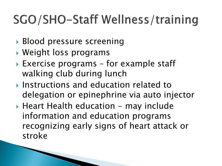 SGO/SHO-Staff Wellness/training
