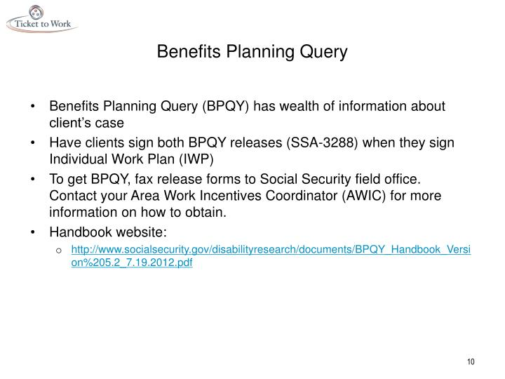 Benefits Planning Query