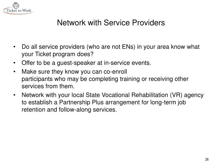 Network with Service Providers