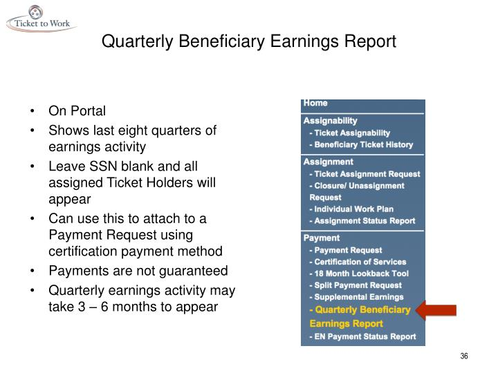 Quarterly Beneficiary Earnings Report
