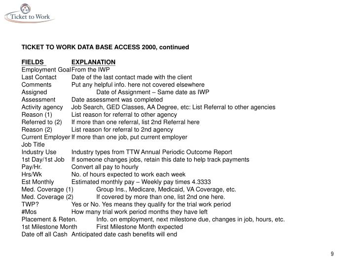 TICKET TO WORK DATA BASE ACCESS 2000, continued