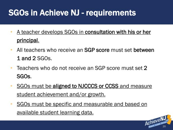 SGOs in Achieve NJ - requirements