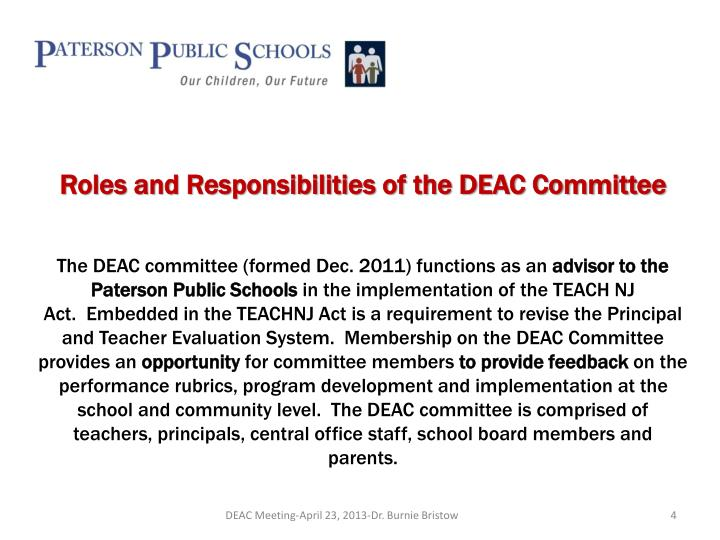 Roles and Responsibilities of the DEAC Committee