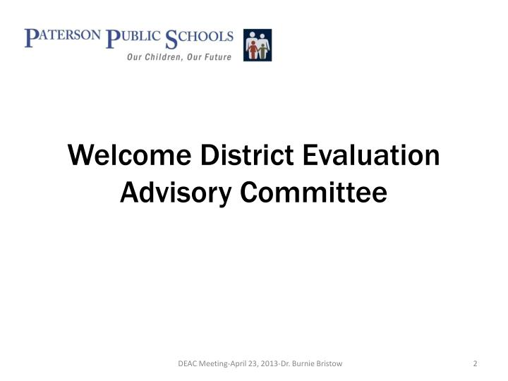 Welcome district evaluation advisory committee