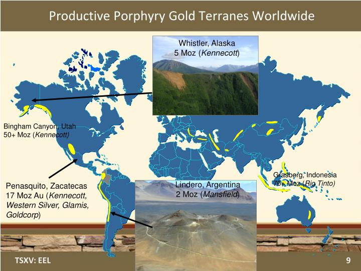 Productive Porphyry Gold Terranes Worldwide