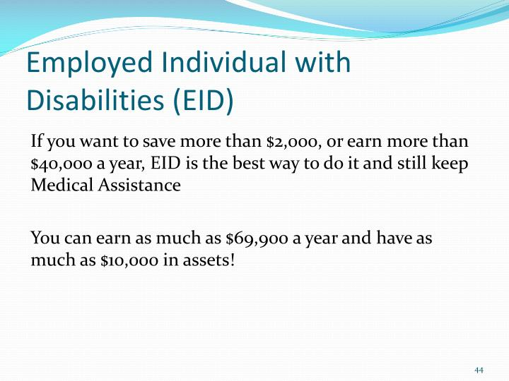 Employed Individual with Disabilities (EID)