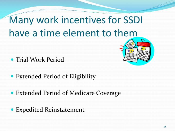Many work incentives for SSDI have a time element to them